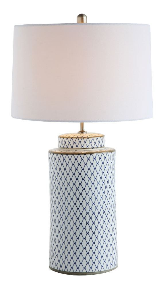 Rnd x ceramic table lamp w linen shade indigo white