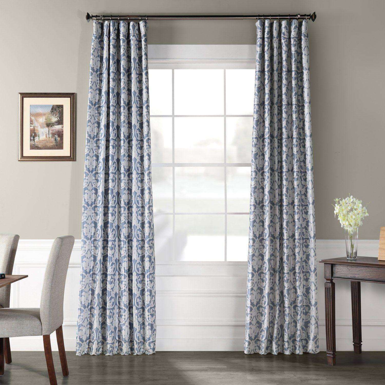 Exclusive Fabrics Rococo Printed Faux Silk Taffeta Blackout Curtain 50 X 108 Grey Gray Panel Curtains Curtains Drapes Curtains