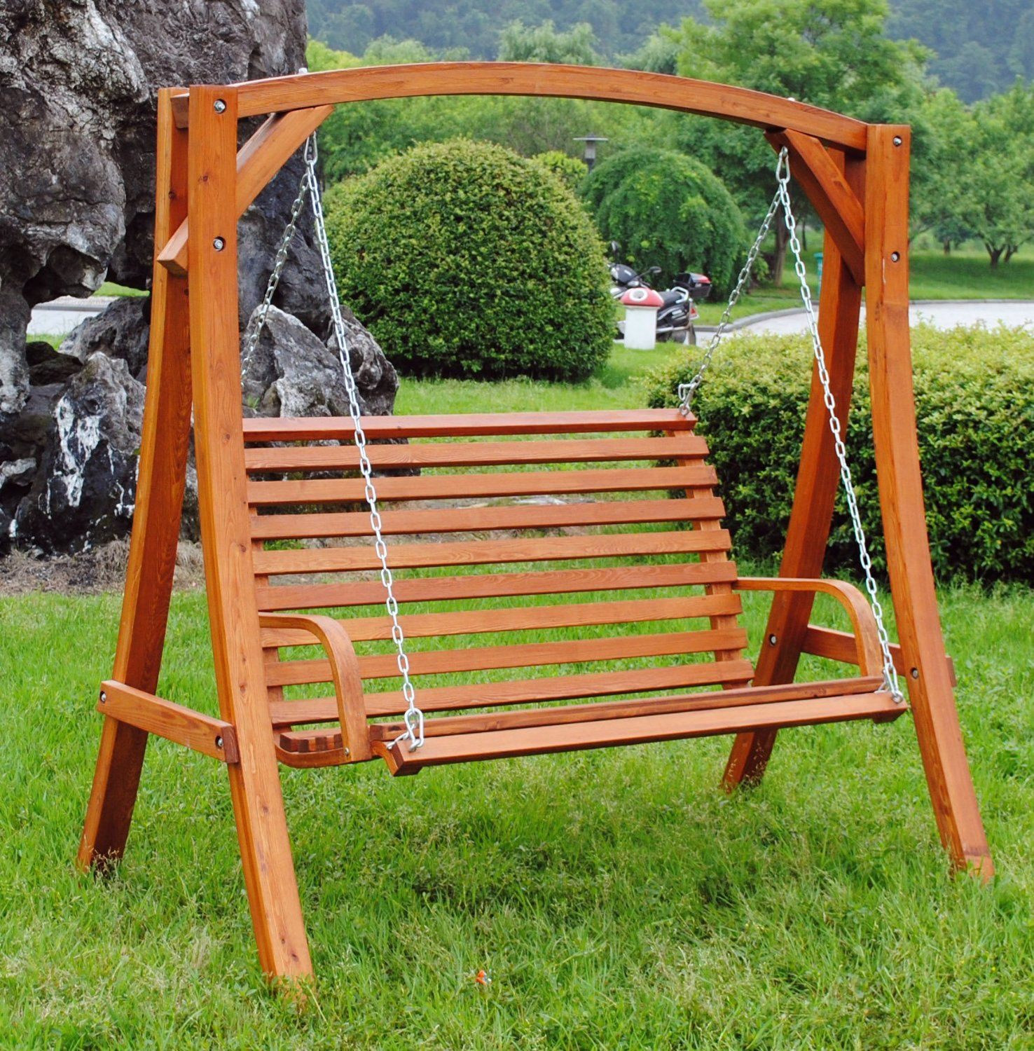 23 SEATER LARCH WOOD WOODEN GARDEN OUTDOOR SWING SEAT