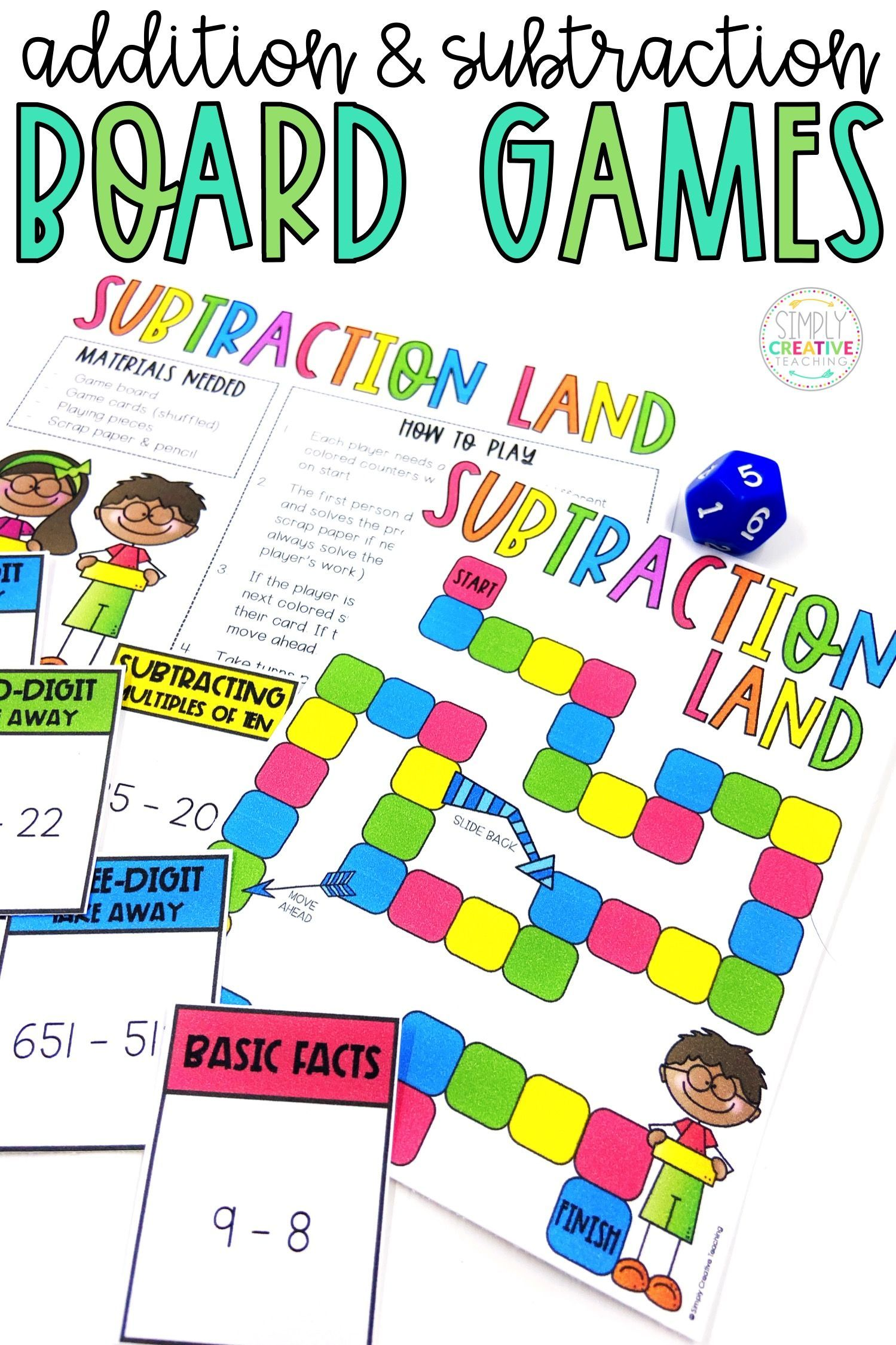 Addition Subtraction Board Games Bundle Math Board Games Math Fact Games Math Center Activities Addition and subtraction game for grade