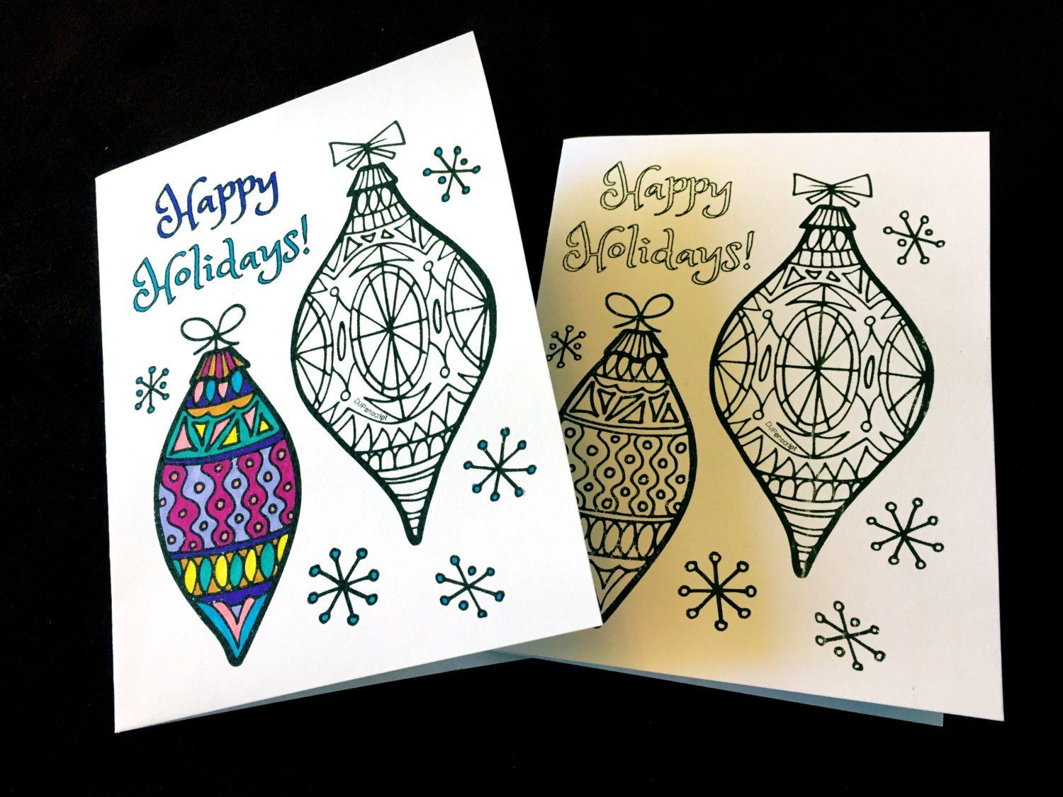 Happy Holidays Greeting Card With Ornaments