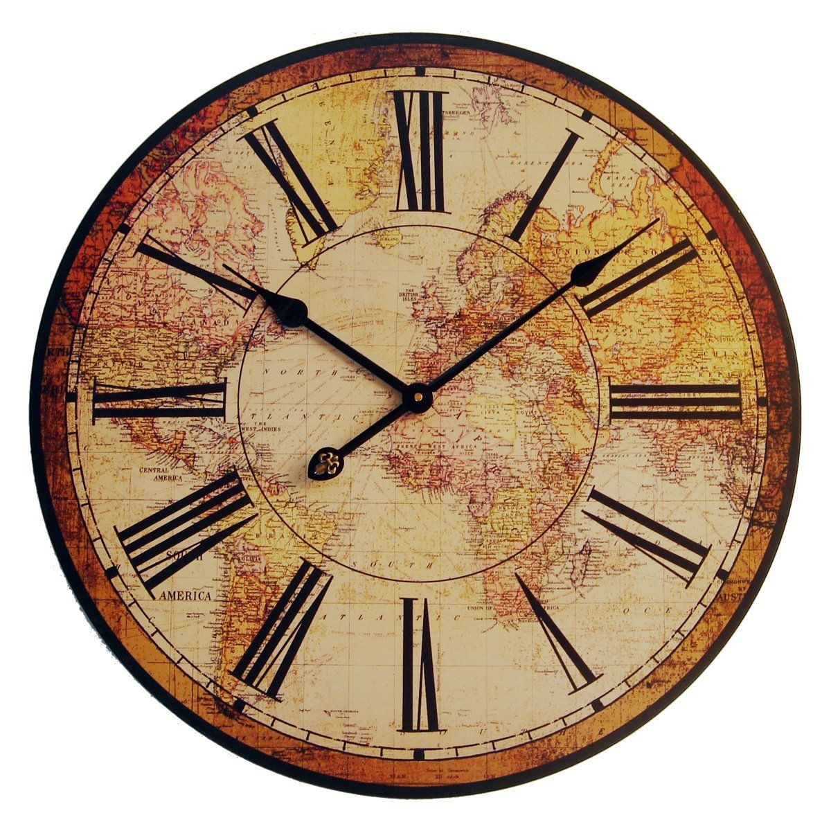 vinatge clock | Vintage Antique World Map Clock | HomeClocks.com ...