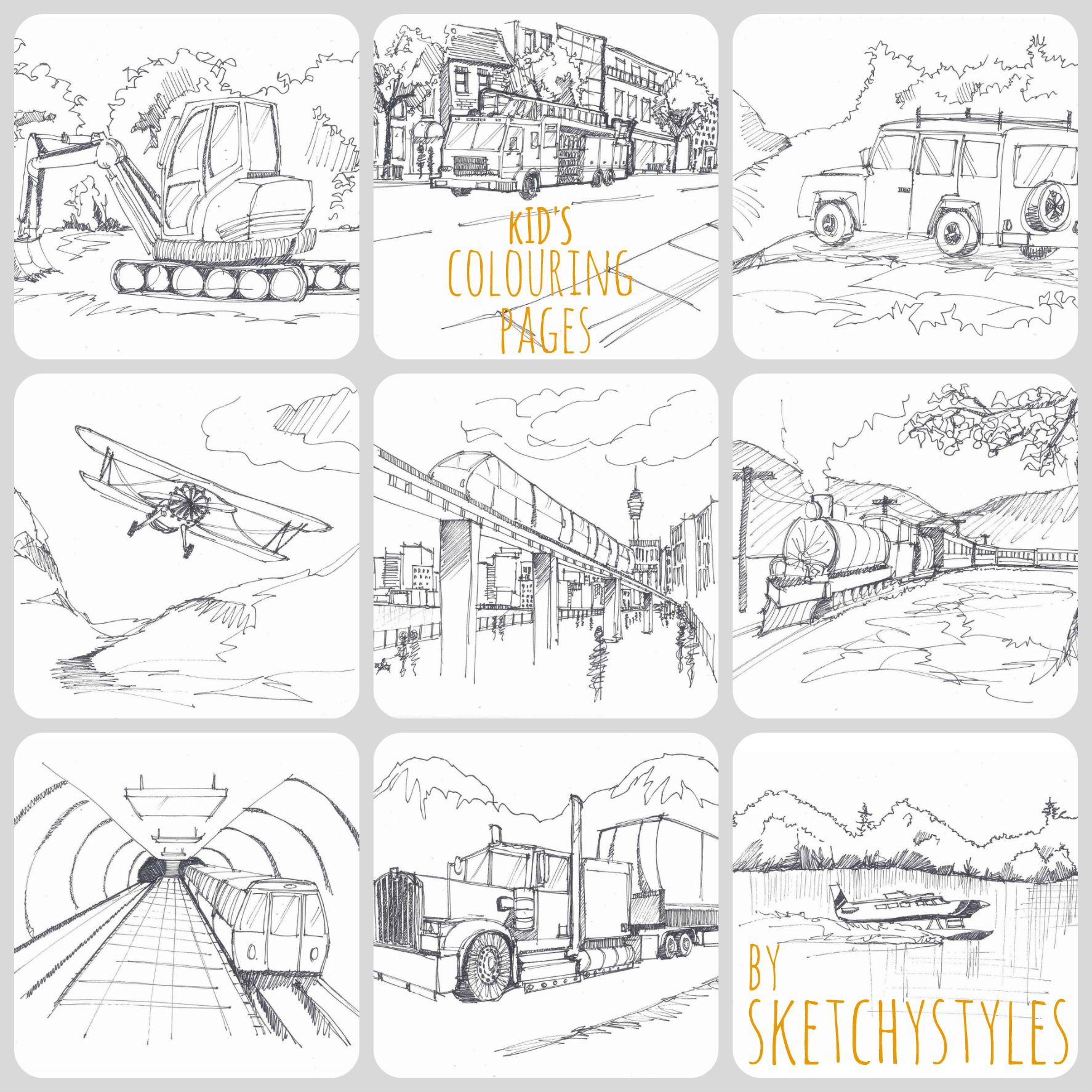 Kid\'s Colouring Pages by sketchystyles | Sketchy Styles - Etsy Shop ...