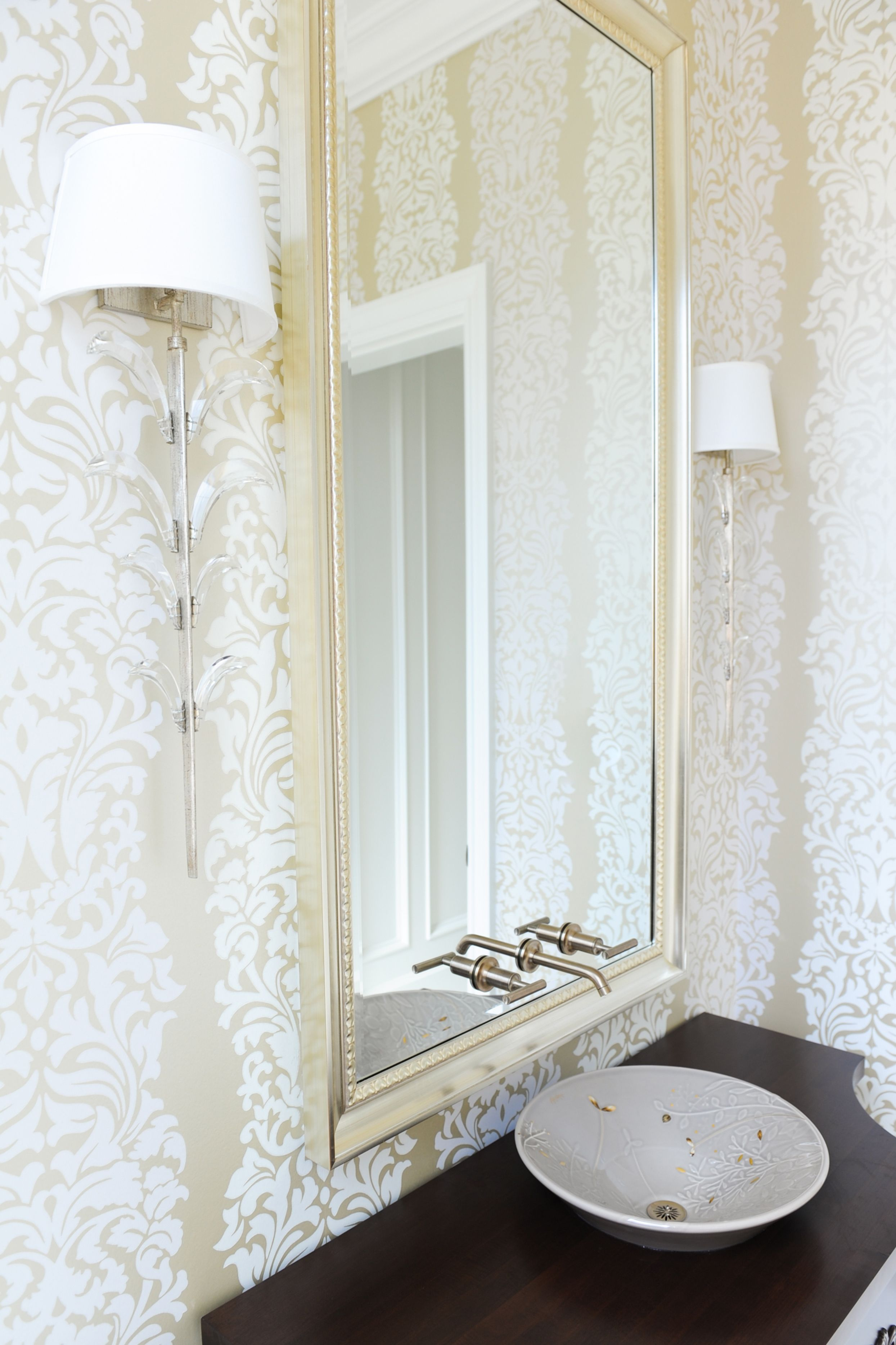 Powder Room designed by Enviable Designs Beautiful wall paper with