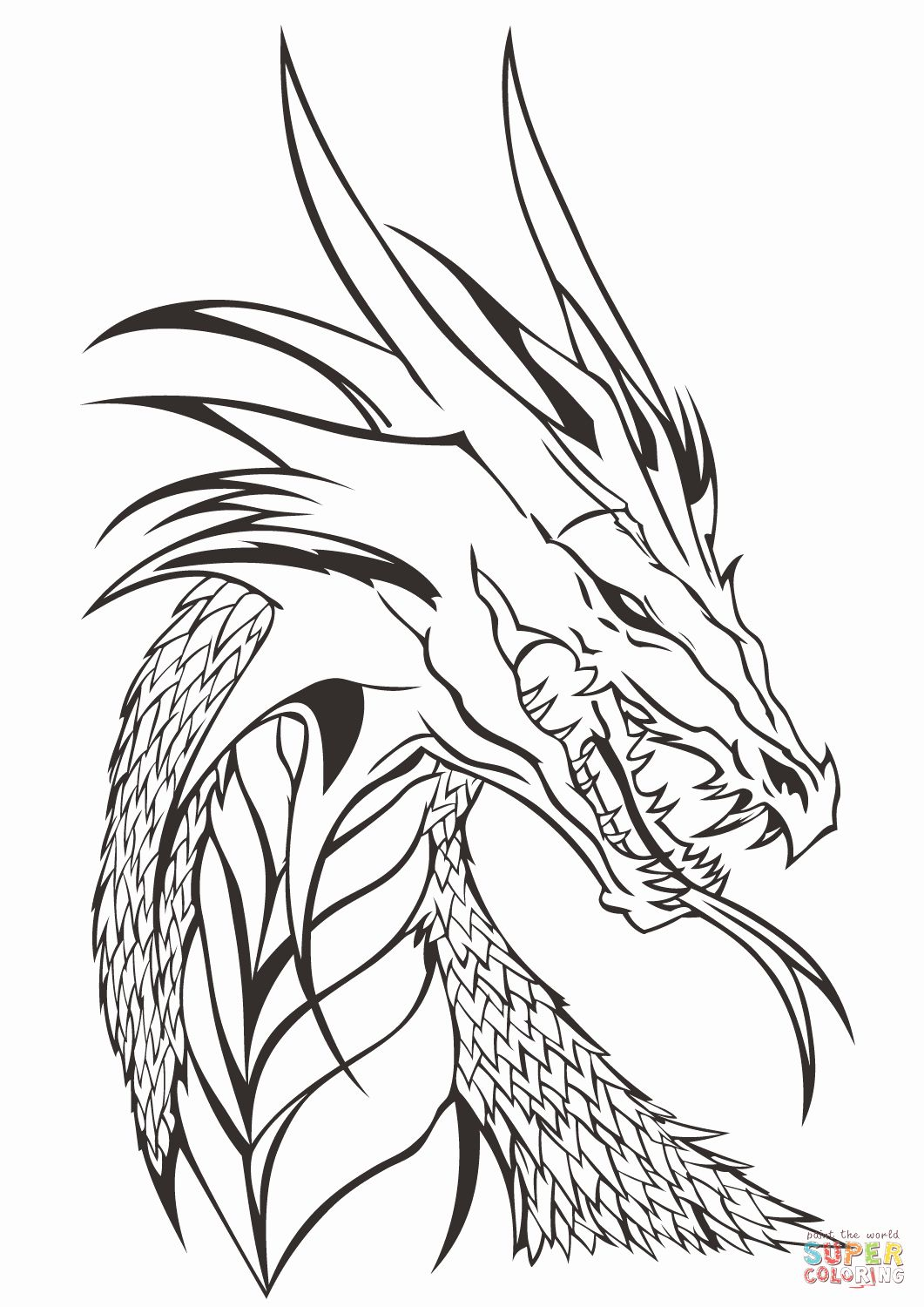 Printable Dragon Coloring Pages Luxury Dragon Head Coloring Page Realistic Dragon Dragon Coloring Page Dragon Pictures