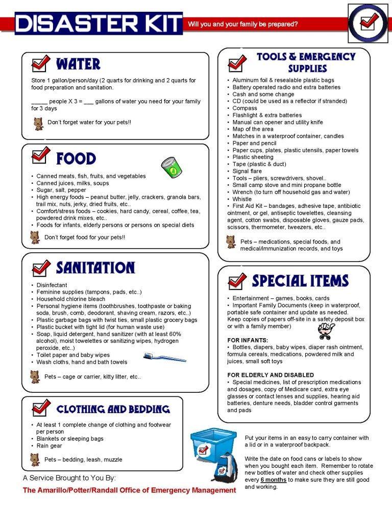 Disaster Kit Checklist Disaster kits, Emergency