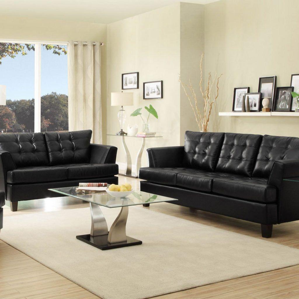 Black Faux Leather Living Room Set Black Furniture Living Room