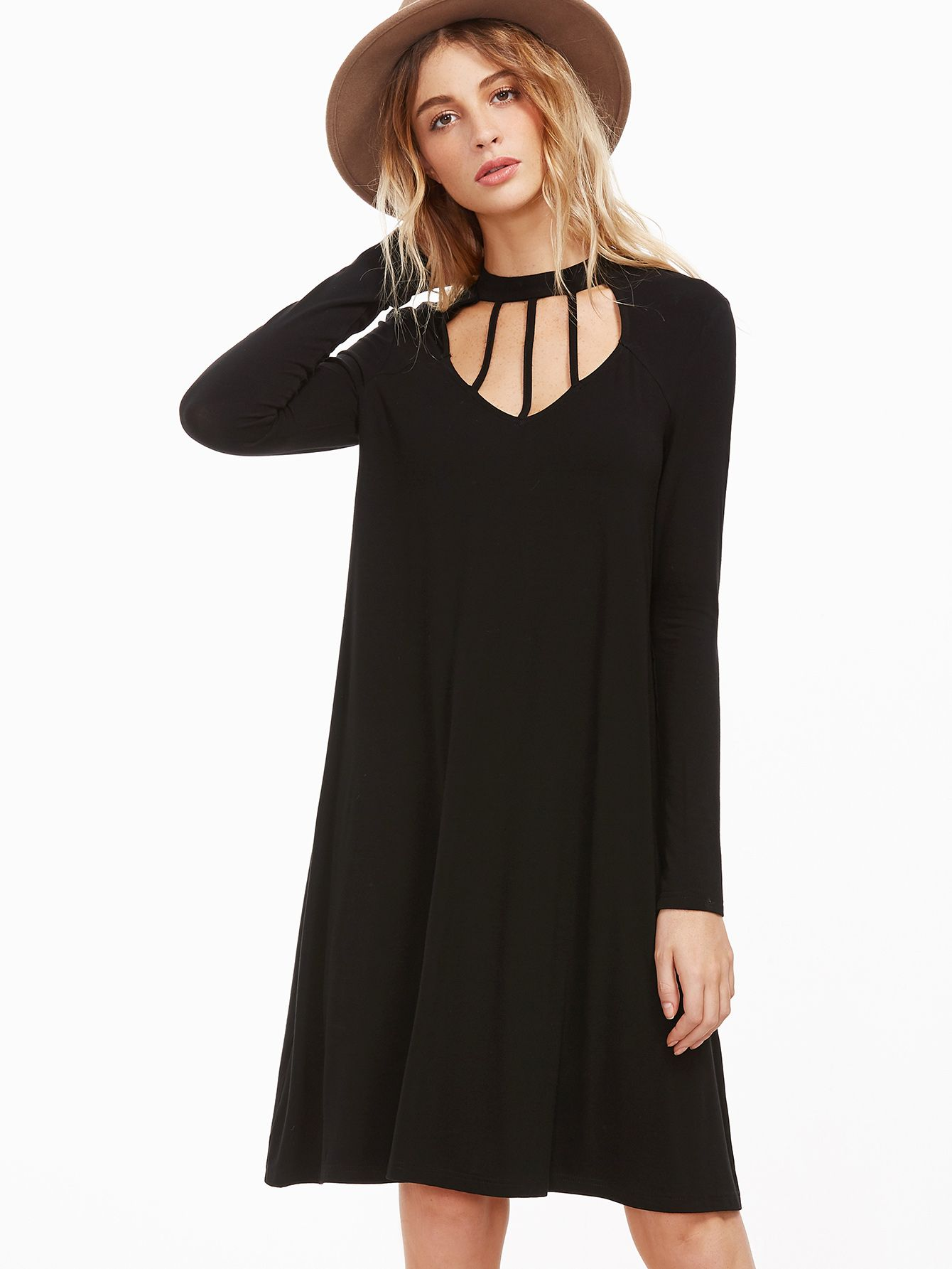 Buy it now. Black Cutout Strappy Neck Swing Dress. Black Casual Rayon Round Neck Long Sleeve A Line Knee Length Cut Out Plain Fabric is very stretchy Fall Tshirt Dresses. , vestidoinformal, casual, camiseta, playeros, informales, túnica, estilocamiseta, camisola, vestidodealgodón, vestidosdealgodón, verano, informal, playa, playero, capa, capas, vestidobabydoll, camisole, túnica, shift, pleat, pleated, drape, t-shape, daisy, foldedshoulder, summer, loosefit, tunictop, swing, day, offthesh...