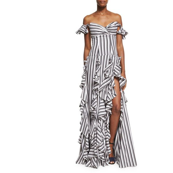Caroline Constas Off-the-Shoulder Wide Stripe Ruffled Gown ($1,200) ❤ liked on Polyvore featuring dresses, gowns, black, women's apparel dresses, short evening gowns, off-the-shoulder ruffle dresses, a line dress, short ball gowns and short dresses
