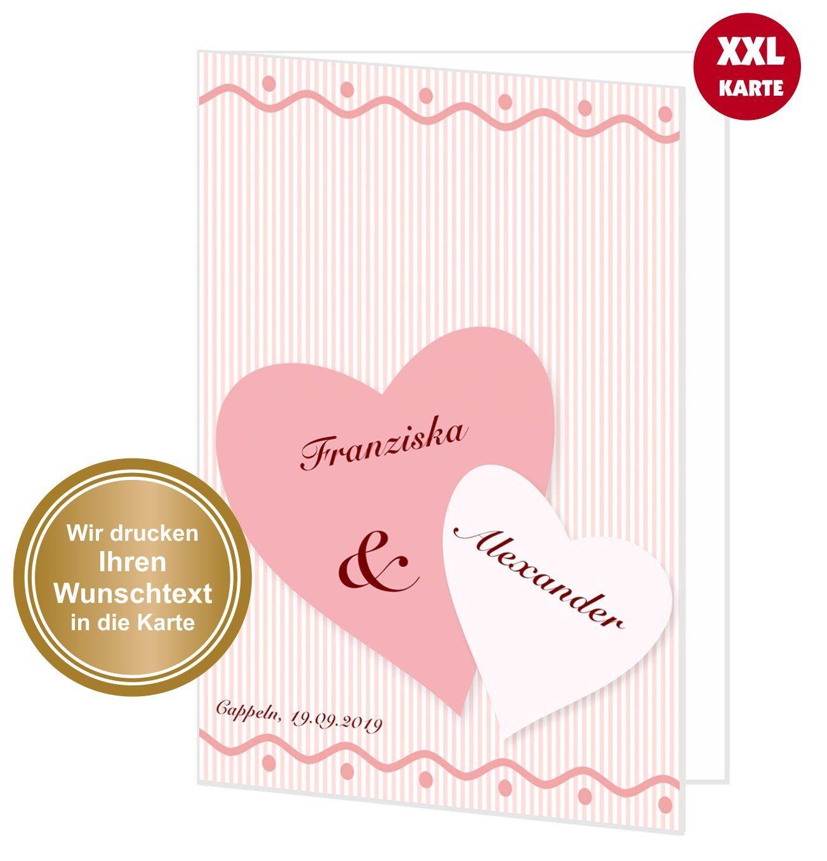 Xxl Gluckwunschkarte Hochzeit Zwei Herzen Xxl Karten Hochzeit
