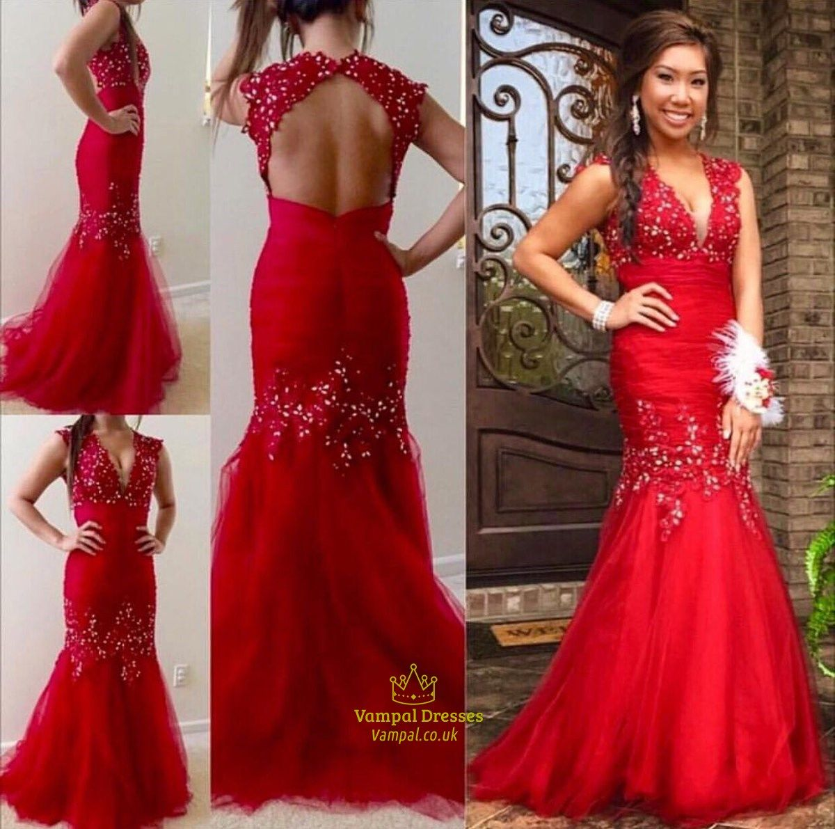 3d1fb9b7304c vampal.co.uk Offers High Quality Red Beaded V-Neck Cap Sleeve Open Back  Illusion Mermaid Prom Dress,Priced At Only USD $193.00 (Free Shipping)