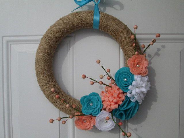 Photo of Burlap wreath, spring wreath, coral, turquoise felt flowers, burlap wreath with felt flowers, Easter wreath