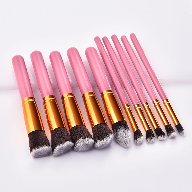 Pink/gold kabuki makeup brushes set available wholesale