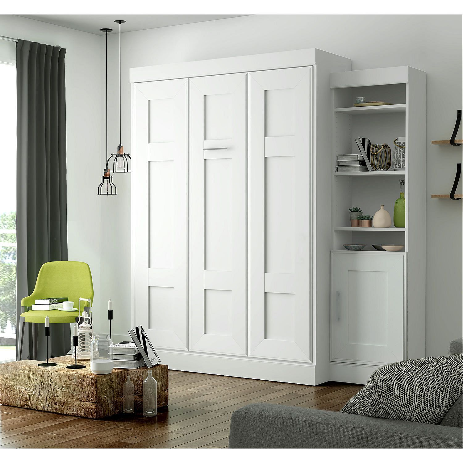 Edge by Bestar Wall Bed with One Storage Unit, White Sam