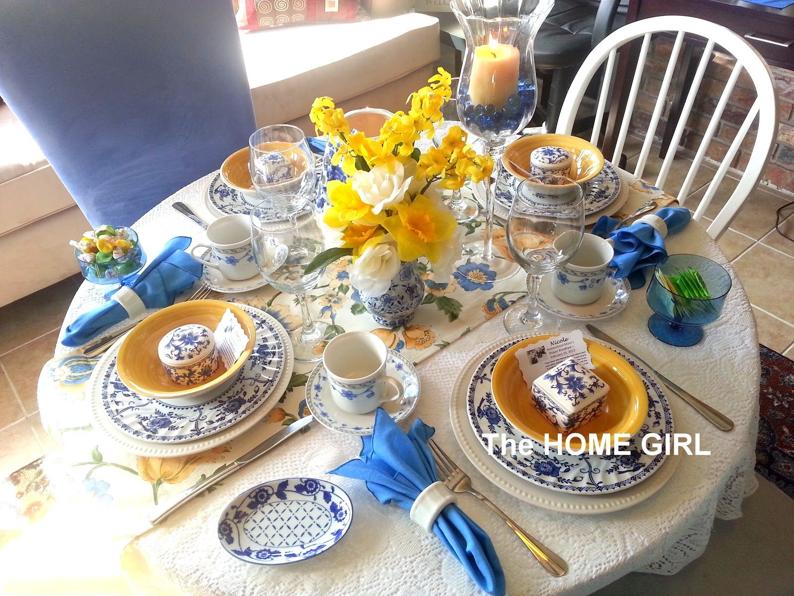 Ladies Prayer Breakfast Tablescape A pretty spring table setting. & The HOME GIRL!: Ladies Prayer Breakfast Tablescape A pretty spring ...