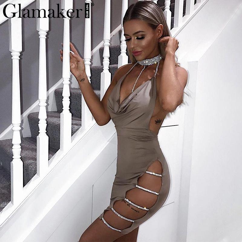 9947d28ed342 Hot drilling chain sexy women dress Side split vestidos Backless club party  dress #partydressesforwomen
