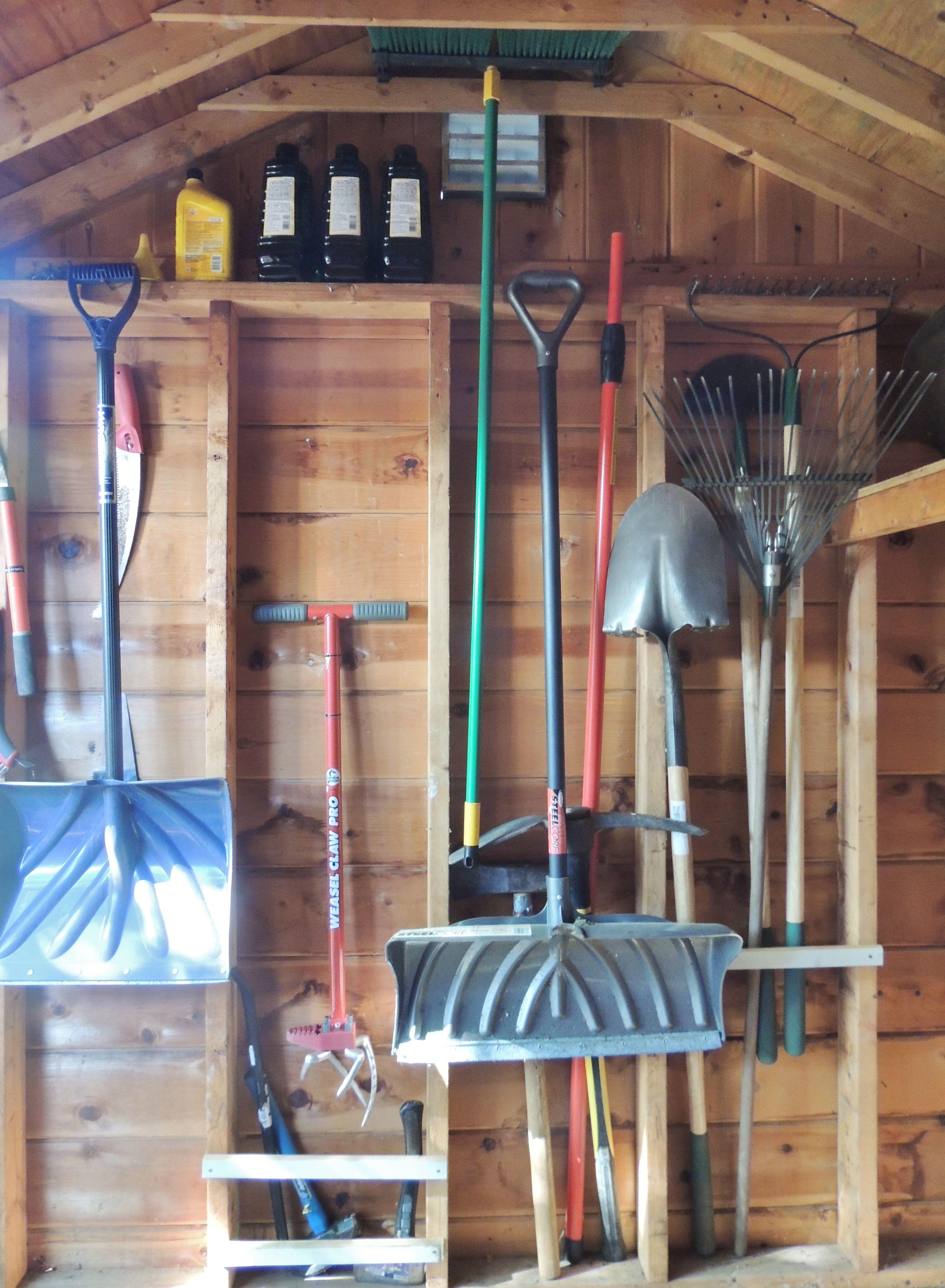 Shed Organization Slats To Hold Garden Tools In Recesses