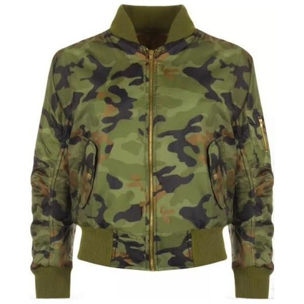LIQUOR N POKER Camouflage Bomber Jacket (€38) ❤ liked on Polyvore featuring outerwear, jackets, coats & jackets, bomber jacket, padded motorcycle jacket, green moto jacket, zip up jacket and motorcycle jacket