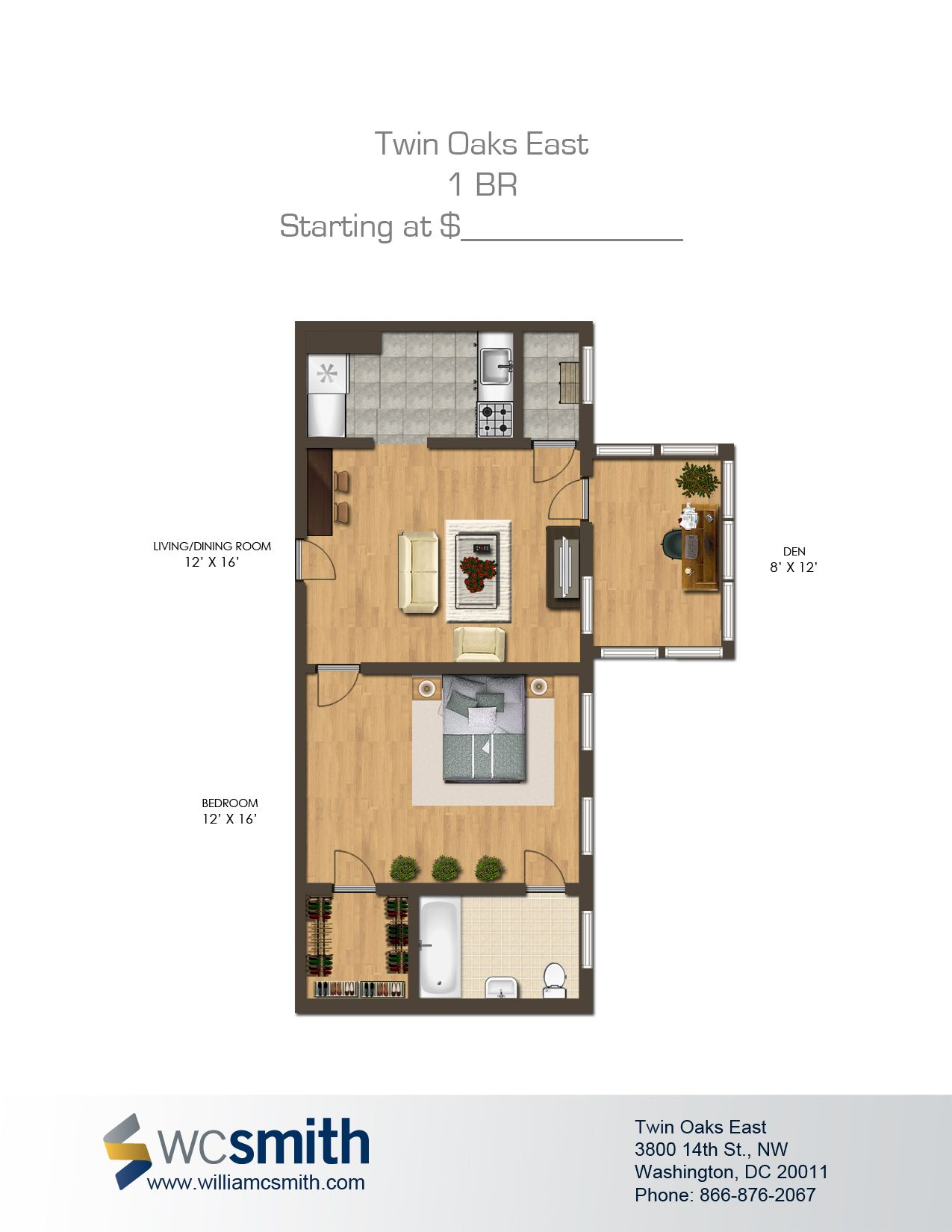 One Bedroom Floor Plan | Twin Oaks In Northwest Washington DC | WC Smith # Apartments | Columbia Heights #Rentals