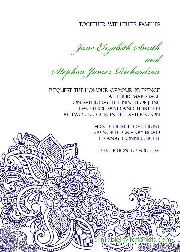 FREE PDF Download Paisley Print Invitation - easy to edit and print