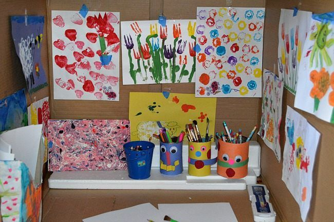 recycled crafts art studio in a box toddler activities