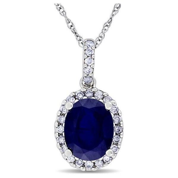 Allurez blue sapphire halo diamond pendant necklace in 14k white 575 liked on polyvore featuring jewelry necklaces white gold long chain necklace blue sapphire necklace 14k white gold pendant white aloadofball Images