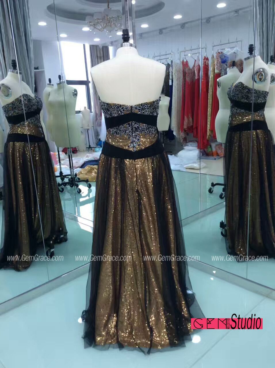 Formal Sparkly Gold with Black Prom Party Dress. Custom with heart ...