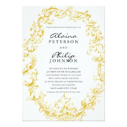 Elegant Gold Frame Wedding Invitation Template Invitation