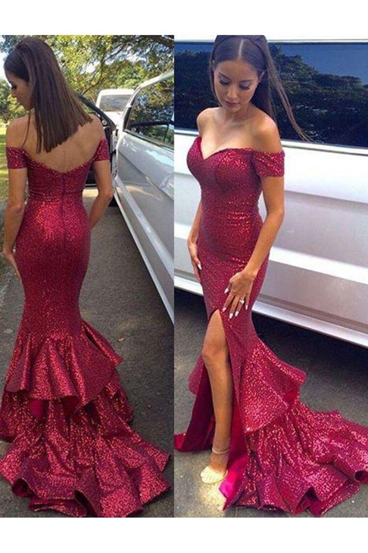 Photo of Mermaid Off-the-Shoulder Sequins Long Prom Dresses Formal Ev…