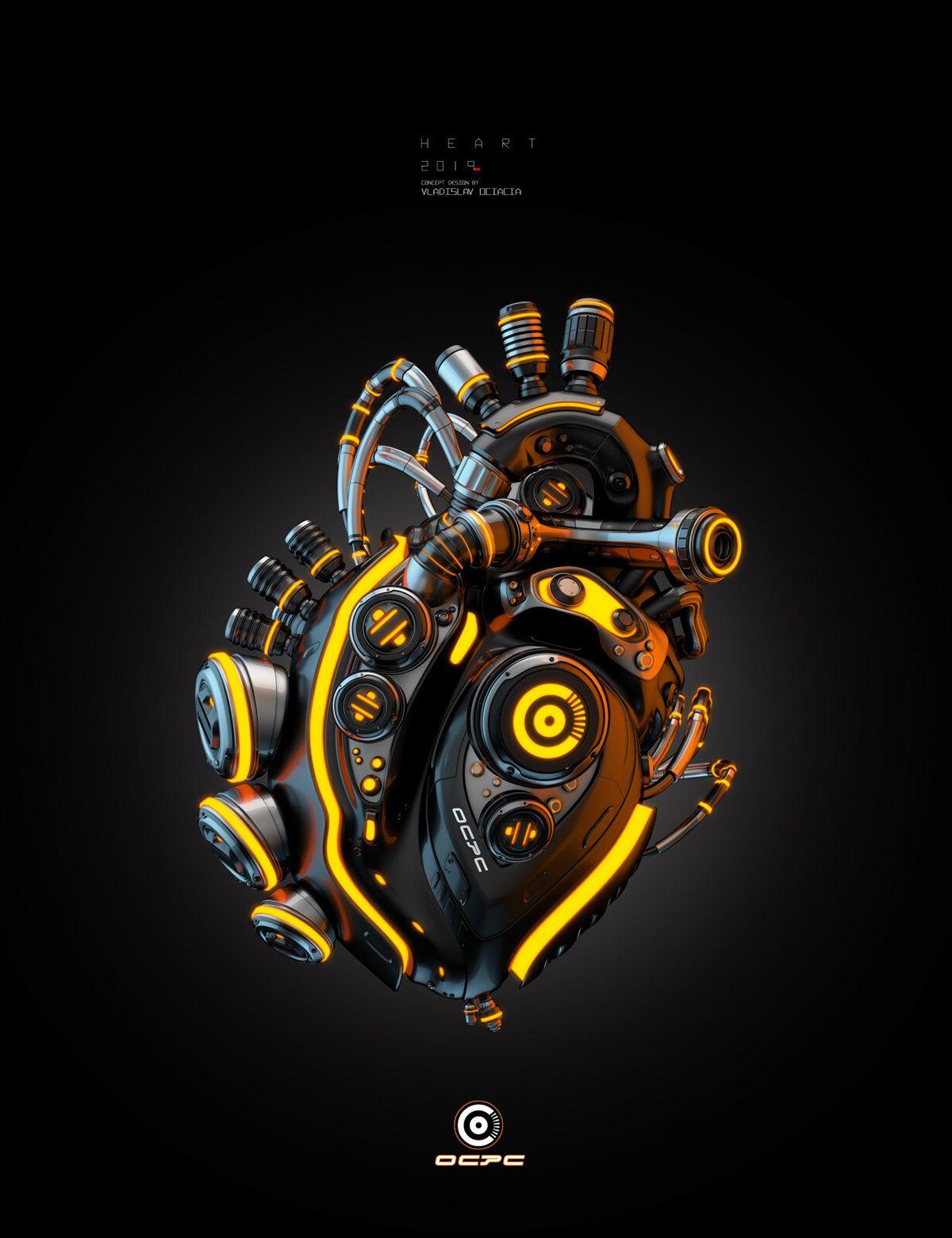 Robot heart OCPC on Behance Biomechanical tattoo design