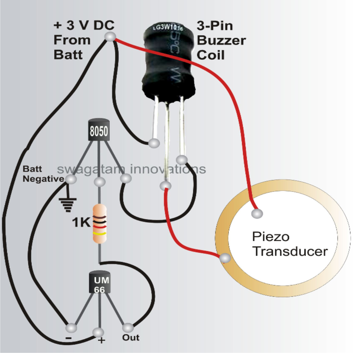 bicycle musical horn circuit using 27mm piezo transducer and um66 horn relay wiring musical horn diagrams [ 1133 x 1133 Pixel ]