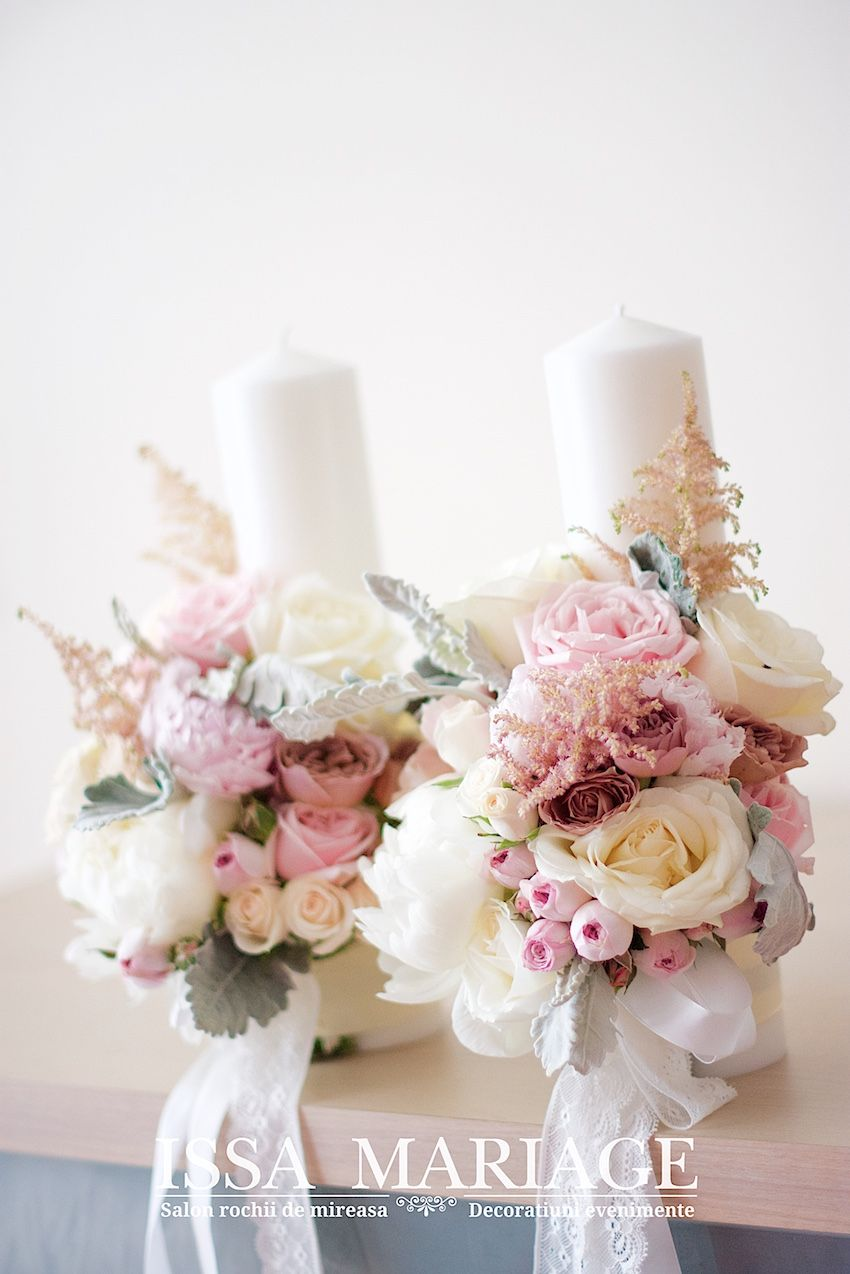 Lumanari Cununie Bujori Albi Flori în 2019 Wedding Wedding