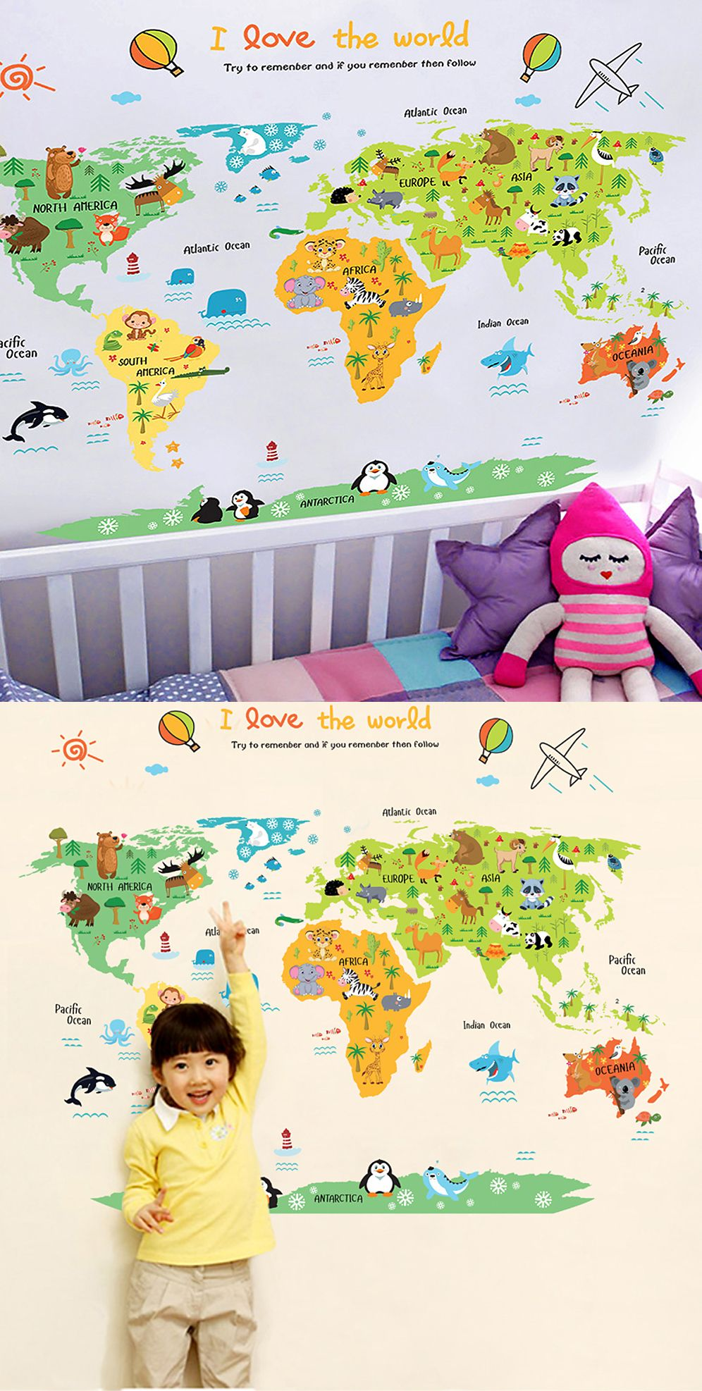 Cartoon World Map Diy Self Adhesive Vinyl Wall Stickers Vinyl Wall Stickers Wall Stickers Bedroom Adhesive Vinyl