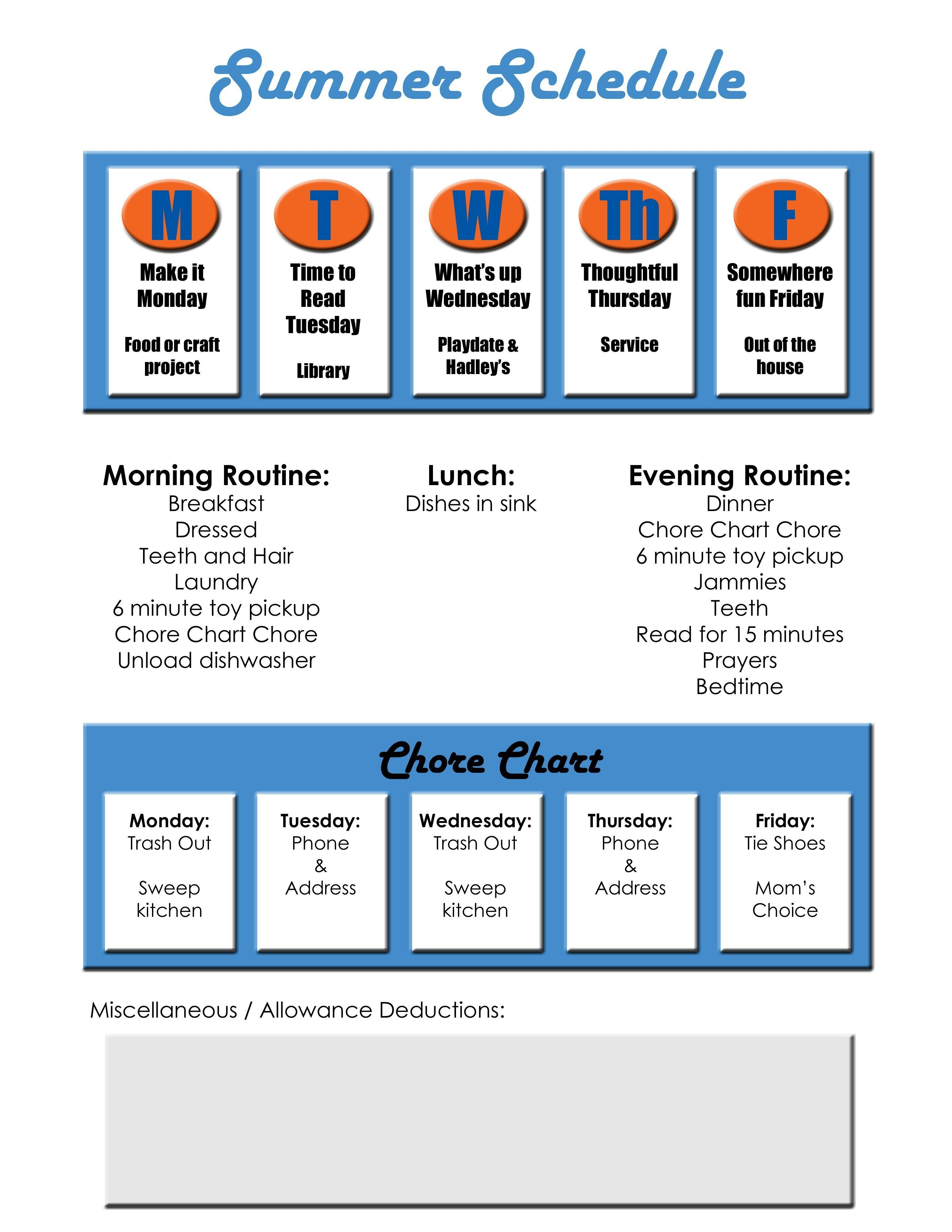 Summer schedule / chore chart - have to remember to teach ...