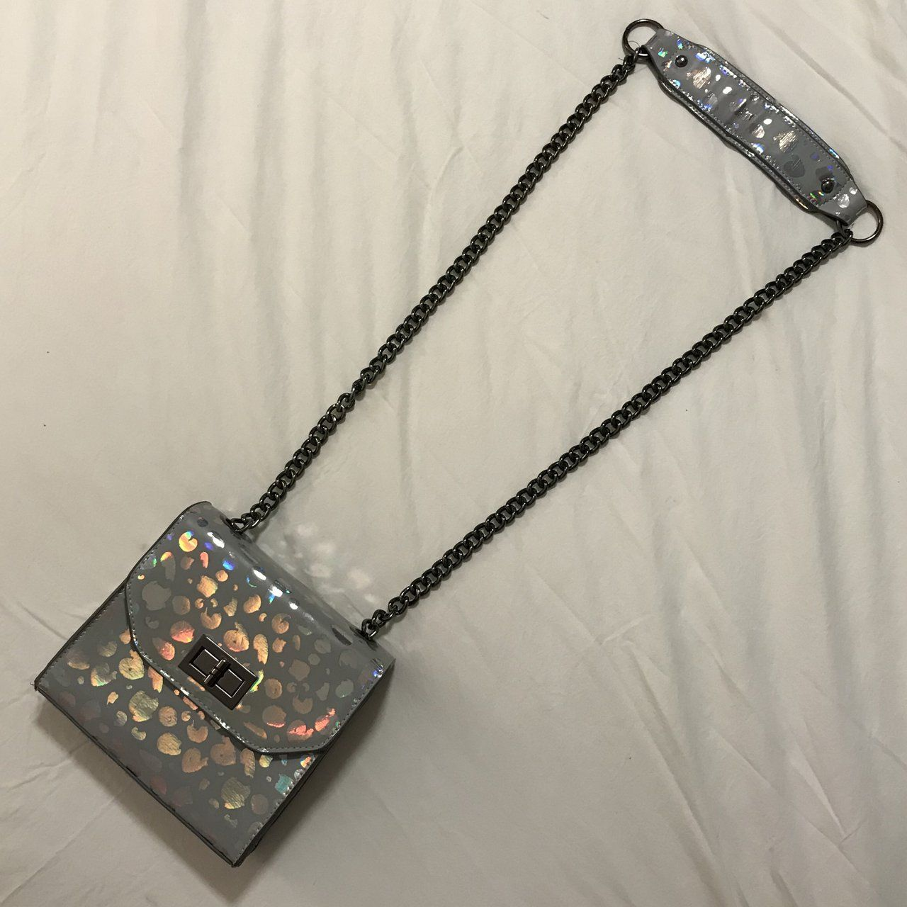 d6042a2e6338 Brand New Skinny Dip Mini Crossbody Bag New without tags, pale grey colour  with iridescent leopard pattern and black interior with small open top  pocket on ...