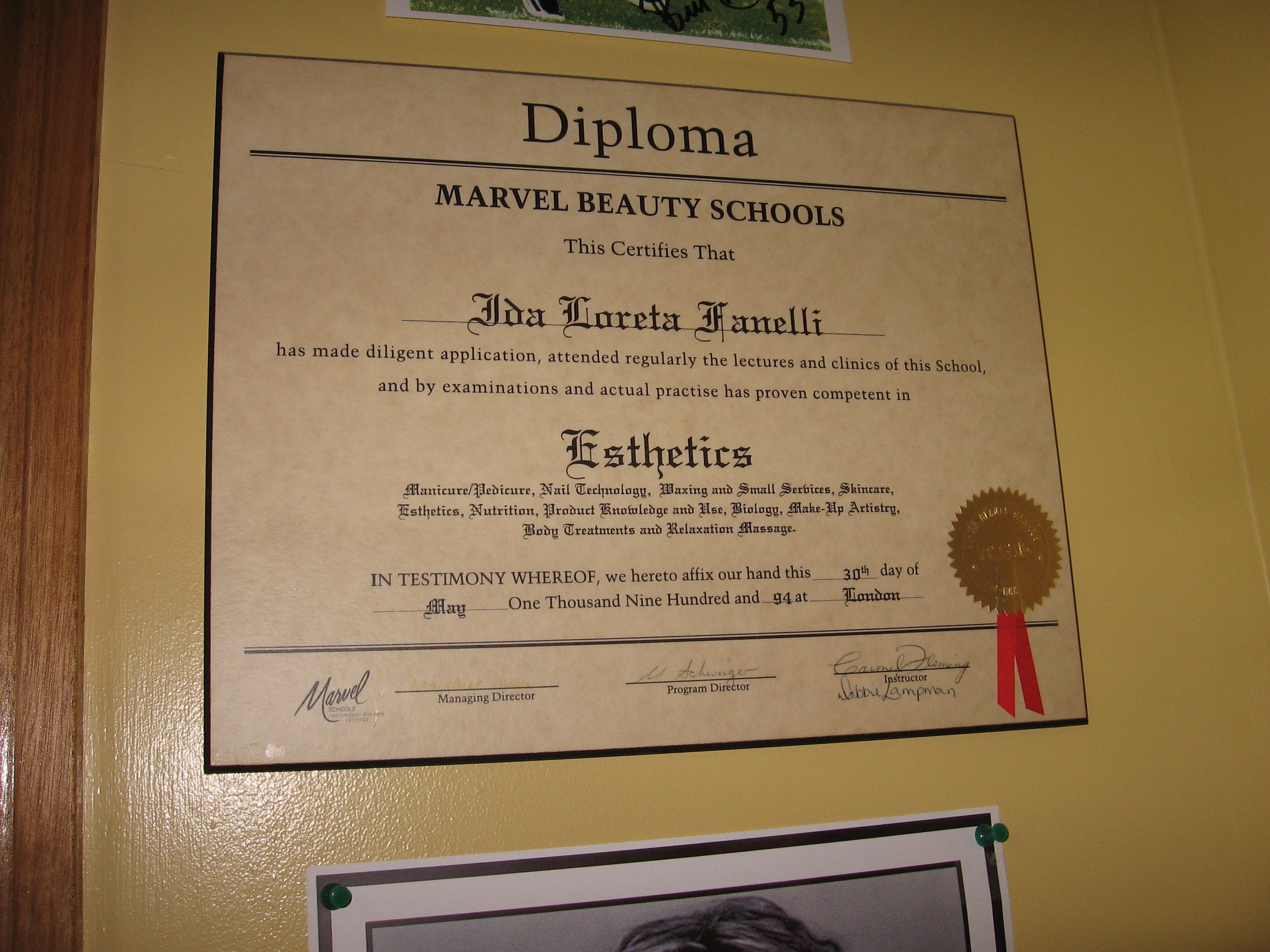 Marvel Beauty Esthetic Certiicate | Certificates and awards | Pinterest
