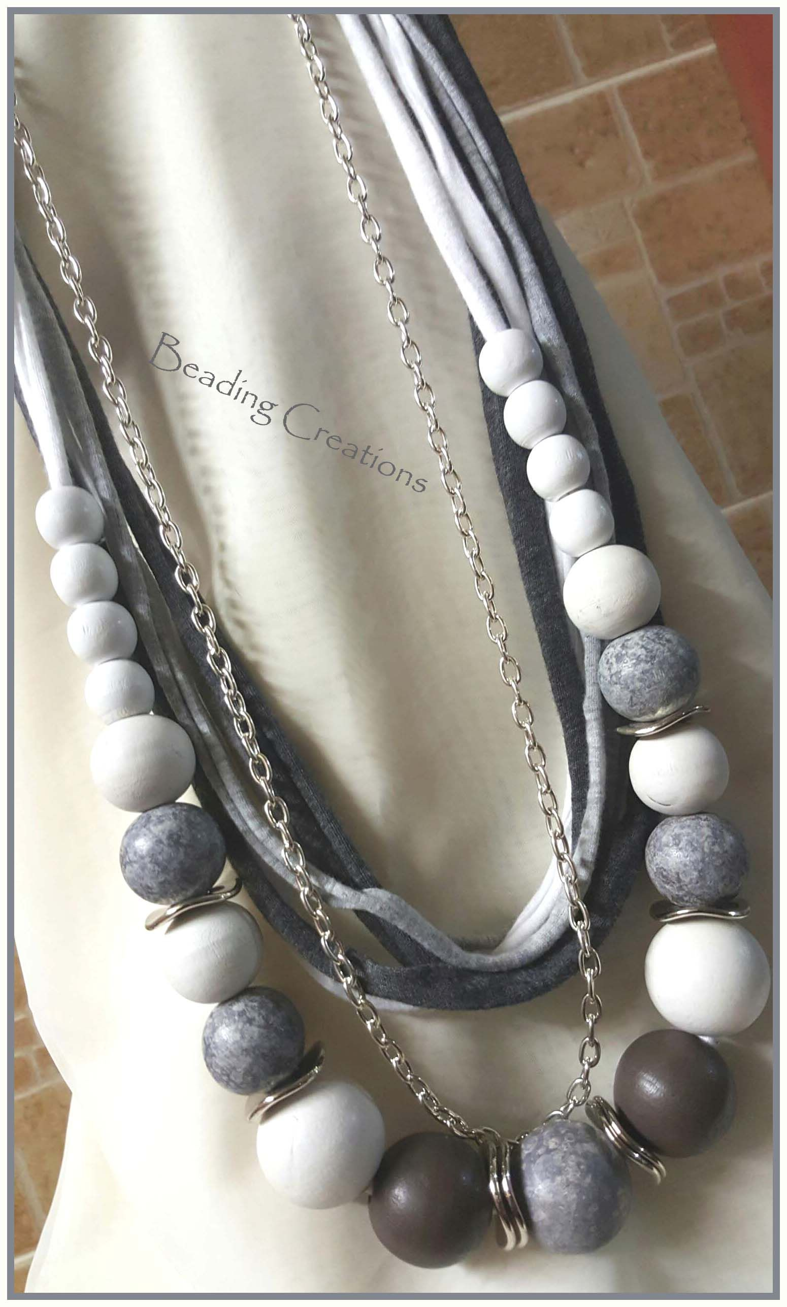 T shirt design jonesboro ar - One Of A Kind Handmade Designer Wooden Beads And T Shirt Yarn Beaded Necklace With