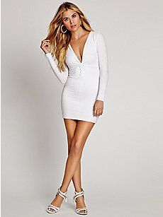 552e53a0dc guess $89 LONG SLEEVE KNOTTED V-NECK BODY-CON DRESS W4FK51H2200 ...