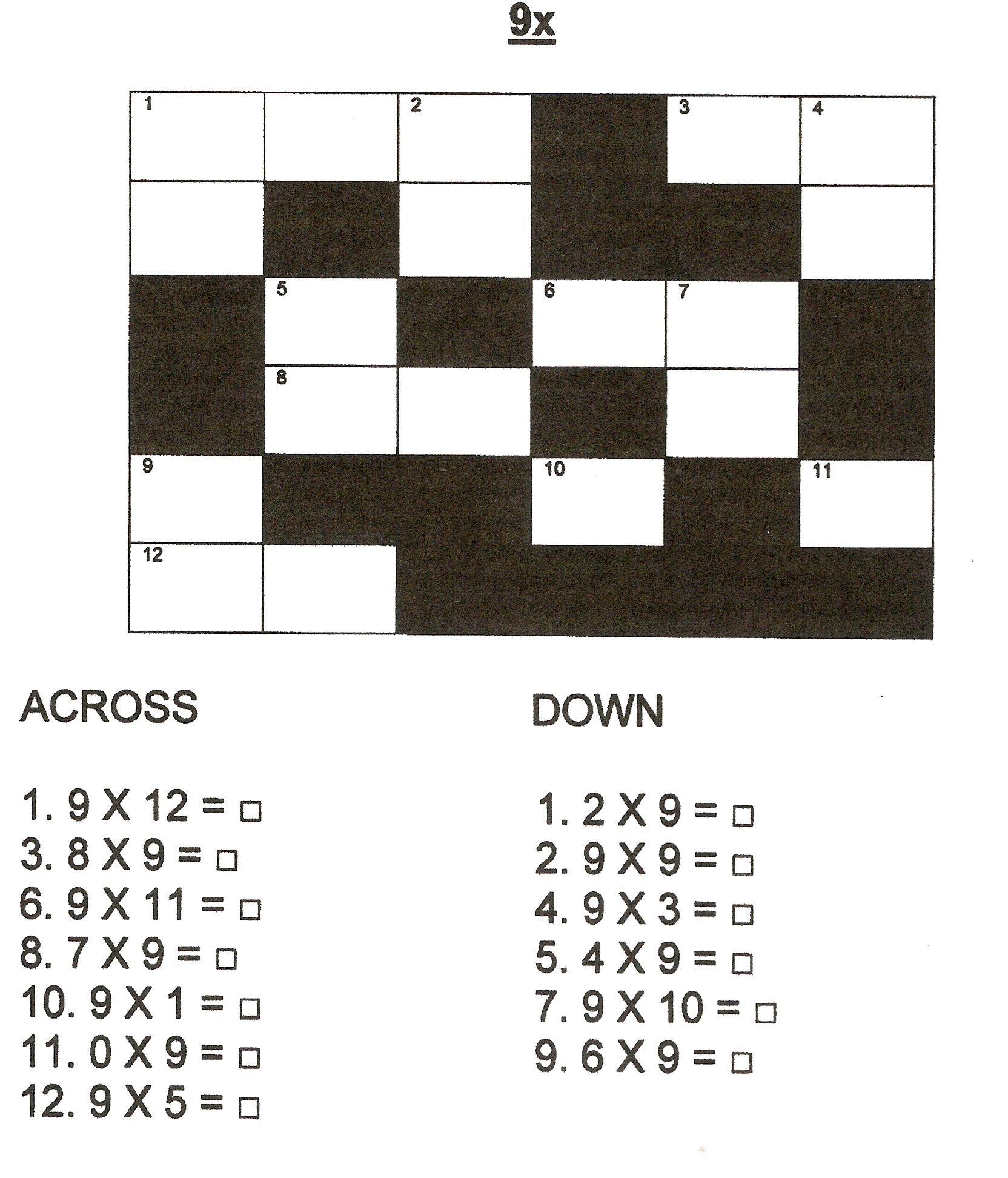 9 X Table Crossword