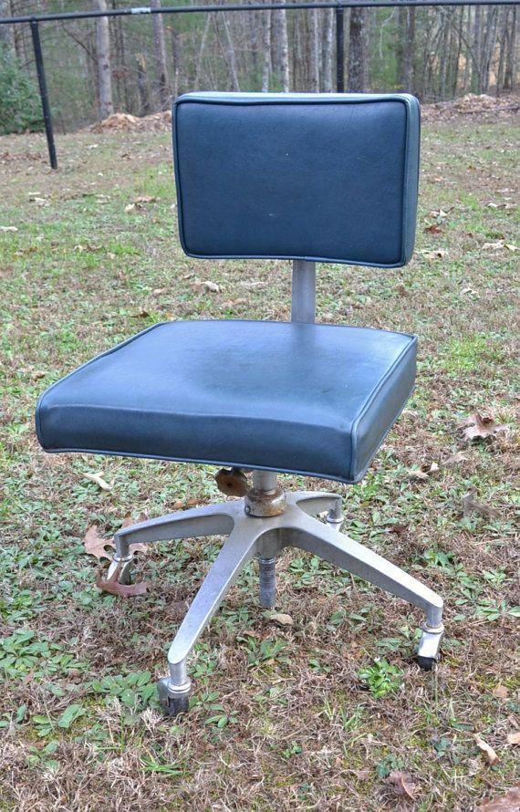 sale vintage desk chair metal blue vinyl rolling by panchosporch
