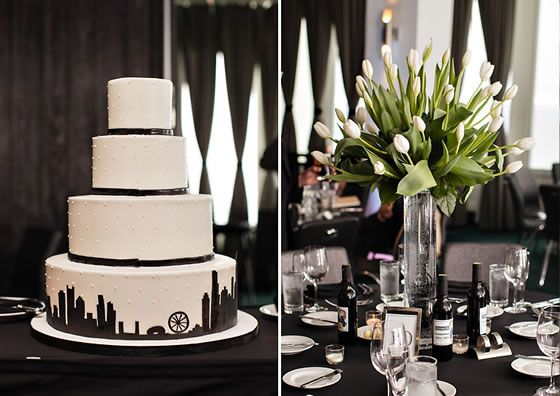 This is how you do a glam urban wedding: crisp floral arrangements of one flower type and a black and white cake decorated with the Chicago skyline | W Chicago Lakeshore | Sarah Postma Photography & Taz Luto