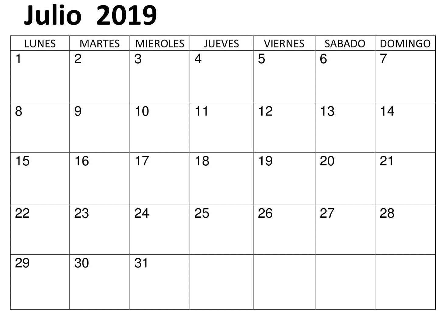 Calendario Julio 2019 Para Imprimir.Calendario Vacaciones 2019 Julio Para Imprimir Calendario