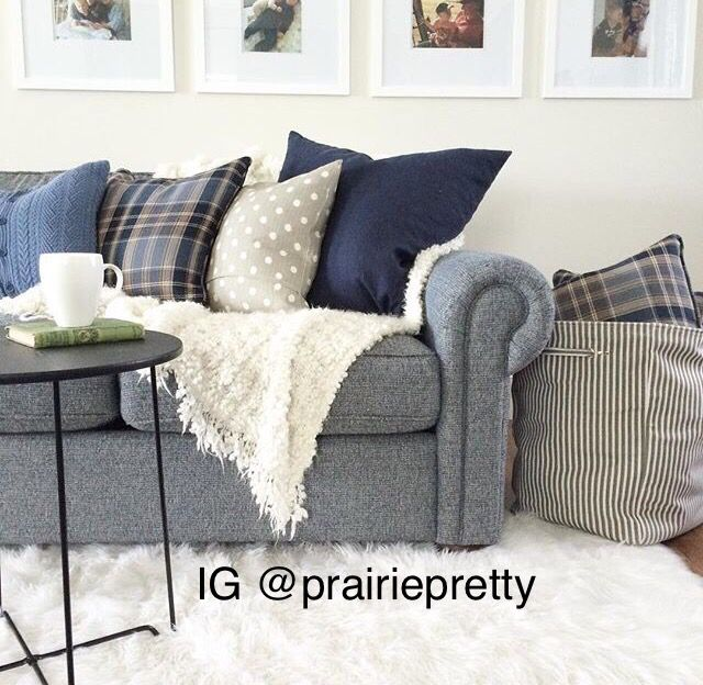Navy Blue Sofa Farmhouse Transitional Couch Living Room Toss