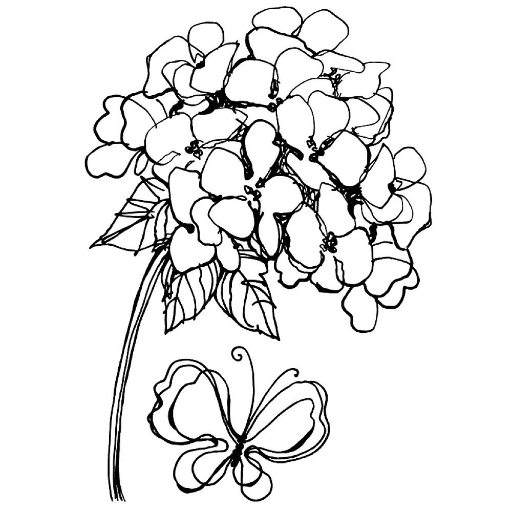Jumbo Cling Stamp Hydrangea Set Butterfly Coloring Page Flower