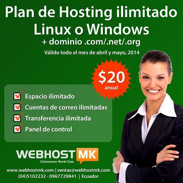 Plan de Hosting ilimitado linux o Windows + dominio .com, .net o .org a $20 anual | Akyanuncios.com – Publicidad con anuncios gratis en Ecuador