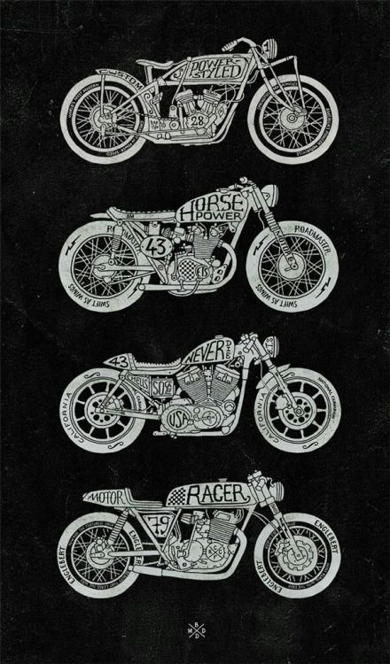 Classic Motorcycle T Shirt Tee Scooter Indian Cafe Racer Vintage Classic Racing