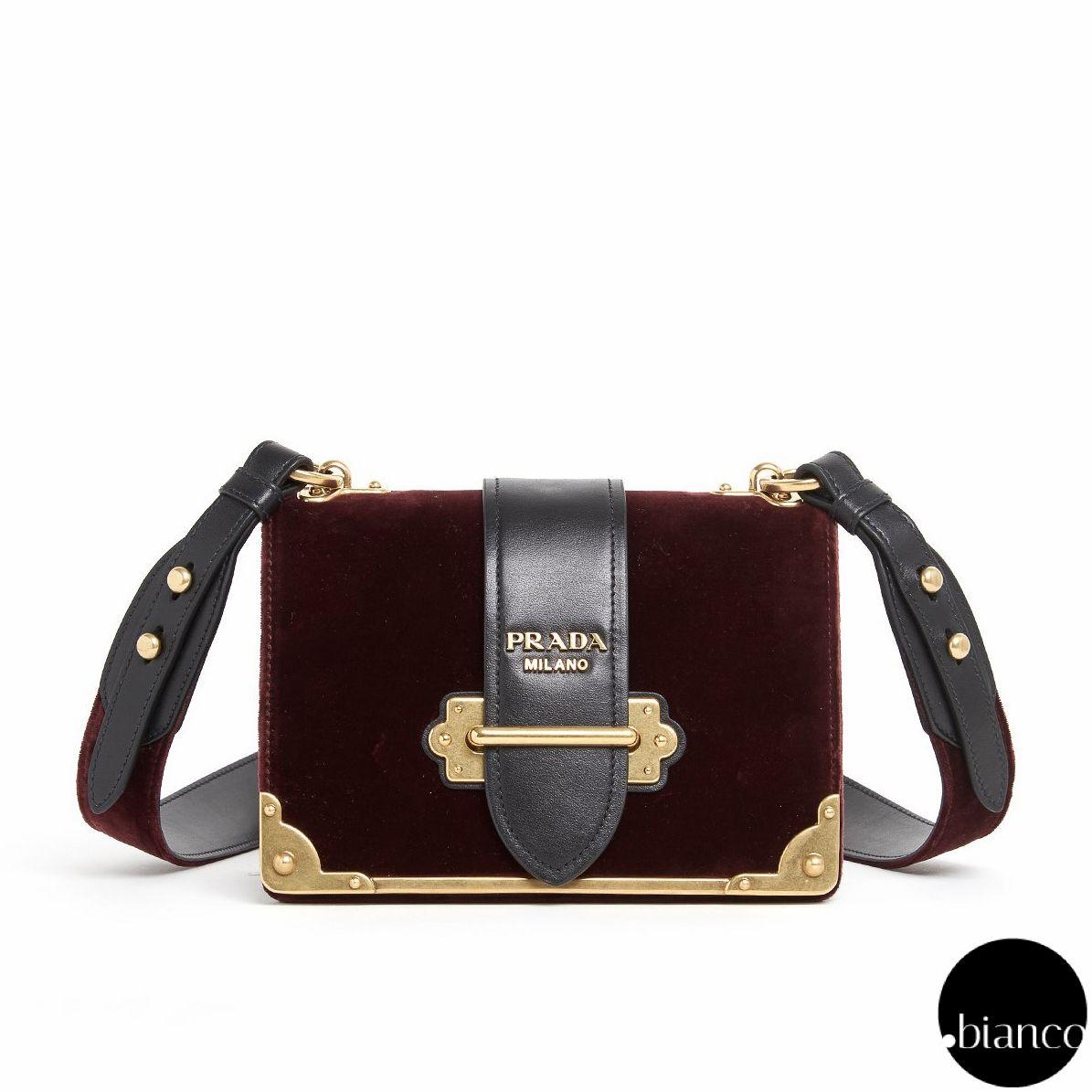 e4e1d18ac35b PRADA CAHIER 2017-18AW Bi-color Leather Handmade Elegant Style Shoulder Bags