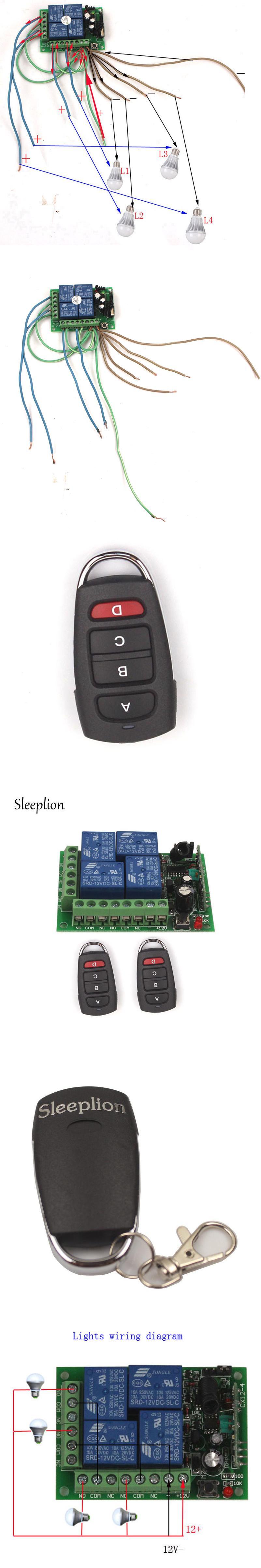 Sleeplion 12V 4CH Channel Relay ON/OFF RF Wireless Remote