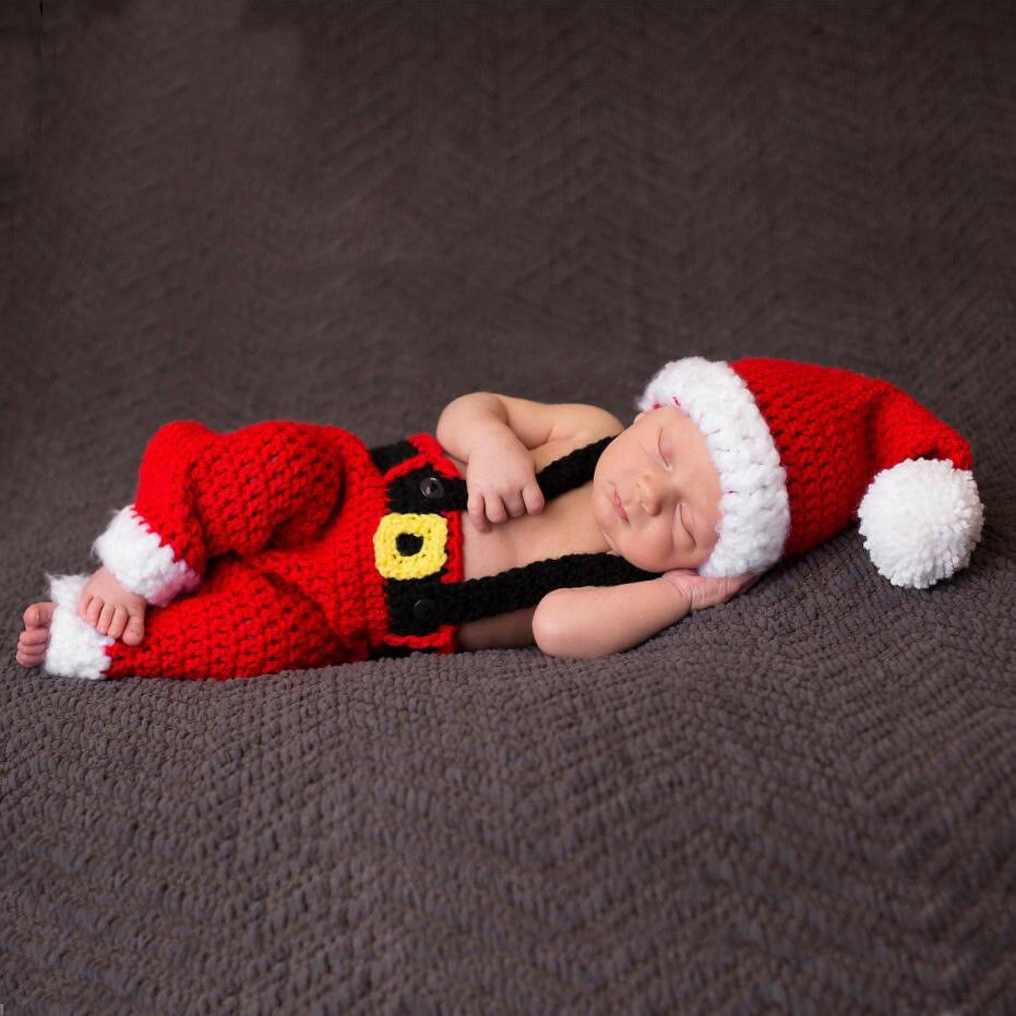 04a5466d84a Newborn Baby Boys Girls Christmas Santa Claus Knit Hat Trousers Photography  Prop  fashion  clothing  shoes  accessories  babytoddlerclothing ...