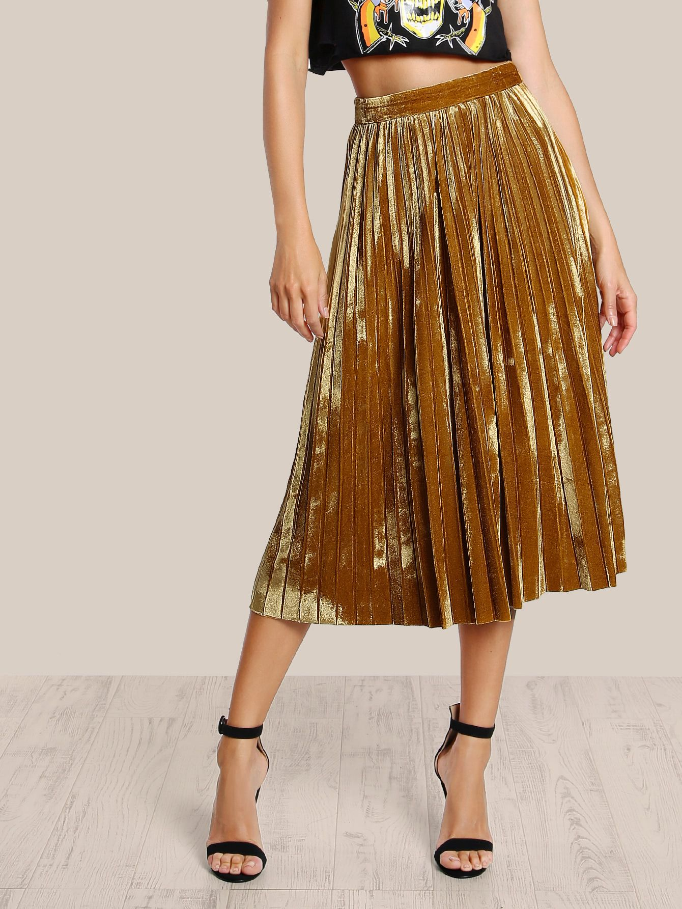 d0299de89 Shop Velvet High Rise Pleated Skirt MUSTARD online. SheIn offers Velvet  High Rise Pleated Skirt MUSTARD & more to fit your fashionable needs.